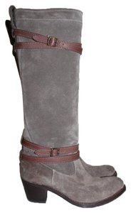 Frye Suede Leather Tall Riding Grey Boots