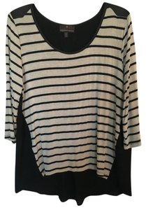 Fenn Wright Manson Pullover And Faux Leather Striped 3/4 Sleeve Top Black & cream