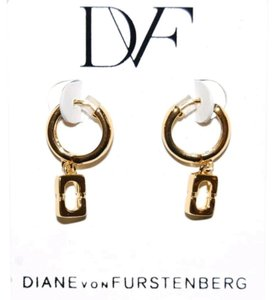 Diane von Furstenberg Gold chain link huggie hoop earrings