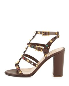 Valentino Rock Studs Louboutin Cacao Brown Sandals