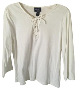 Chaps Scoop Neck Lace Up 3/4 Sleeve Top white