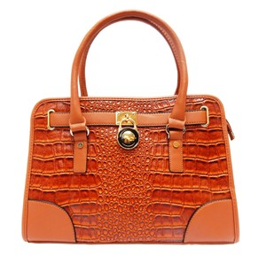 Vecceli Italy Faux Leather Satchel Handbag Alligator Leather Tote in Camel