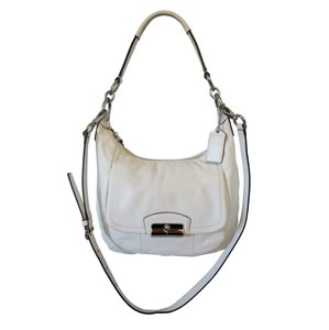 Coach Leather Removable Strap Silver Hardware Flap Front Flap Hobo Bag