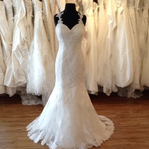 Mia Solano Ivory Mesh/Lace Wedding Dress Size 6 (S)