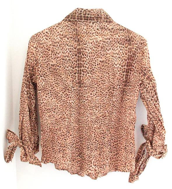 Just Cavalli Crinkled Material Shirt Button Down Shirt Leopard/ gold shimmer