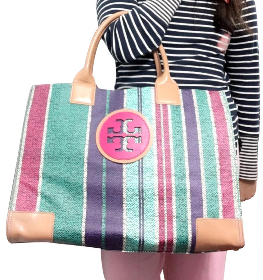 Tory Burch Ella Weekender Canvas Beach Bag 76 Off Retail