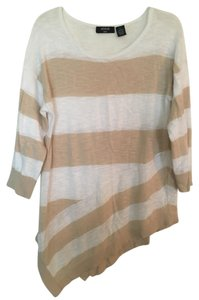 Verve Ami Tunic Tan/White Striped Sweater