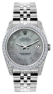 Rolex 36MM ROLEX DATEJUST S/S 5CT DIAMOIND WATCH WITH ROLEX BOX & APPRAISAL