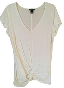 Moda International Pullover V-neck Short Sleeves Tunic Top white