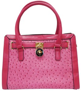 Vecceli Italy Faux Leather Satchel Handbag Ostrich Leather Tote in Pink