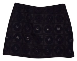 Milly Mini Skirt Black (shiny floral pattern)