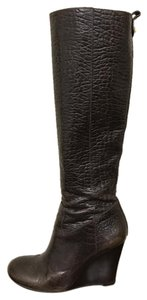 Tory Burch Wedge Embossed Croc Brown Boots
