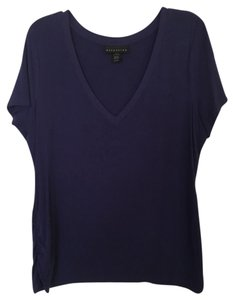Attention V-neck Sleeves T Shirt royal blue