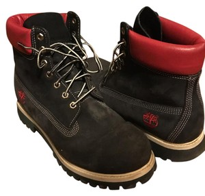 Timberland Navy, Red, and White trim Boots