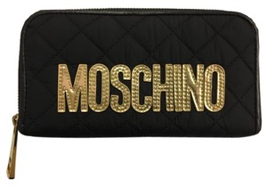 Moschino MOSCHINO by Jeremy Scott - Quilted Black Wallet w/ Gold Logo