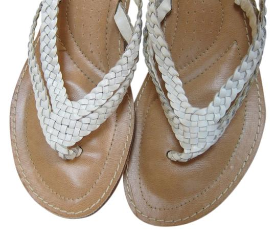 Levesque New Braided Leather Flat Low Heel White Sandals