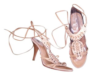 SCHUTZ Camel and Cream Leather Sandals