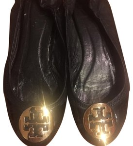 Tory Burch Leather Gold Hardware Black Flats