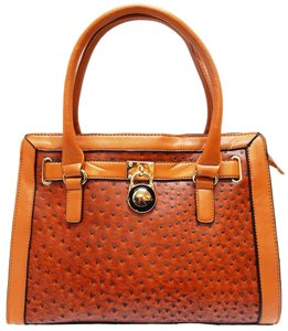 Vecceli Italy Faux Leather Satchel Handbag Ostrich Leather Tote in Light Brown