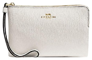 Coach Leather Wristlet in Bone, Cream, Off White, Chalk