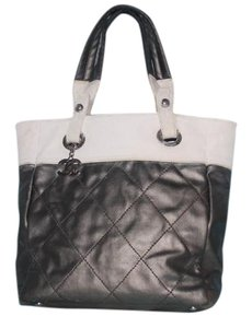Chanel Quilted Paris-biarritz Grey / Tote in Silver and White