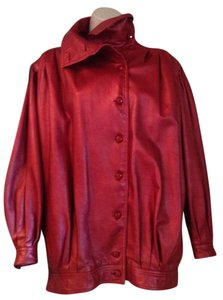 Emanuel Ungaro Vintage Excellent Condition Iridescent Red Leather Jacket