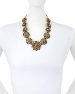 Oscar de la Renta Floral Smoky Crystal Statement Necklace NEW
