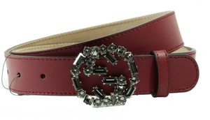 Gucci GUCCI 354381 Crystal Interlocking G Leather Belt, Burgundy 85-34