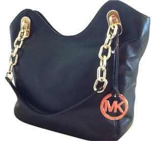 Michael Kors Lambskin Leather Soft Leather Gold Hardware Tote in Navy