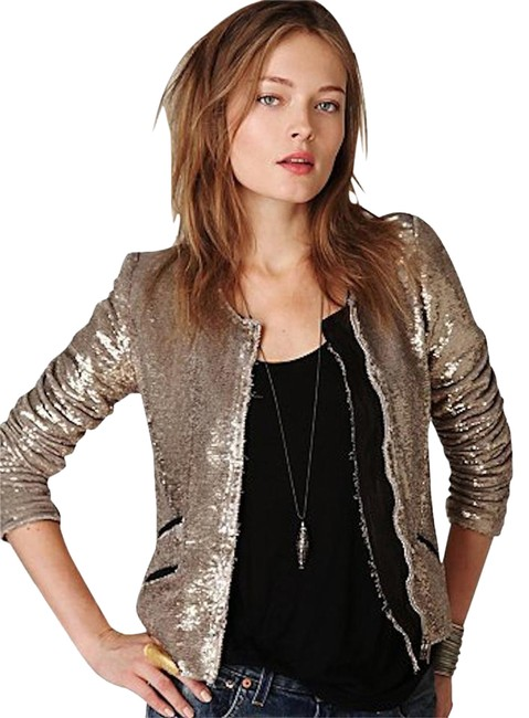 Item - Gold Yulli Sequin + Leather Moto Silver Jacket Size 10 (M)