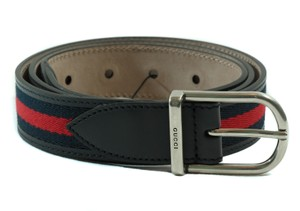 Gucci GUCCI 368189 Webstripe Nylon Web Leather Belt, Blue Red 95-38