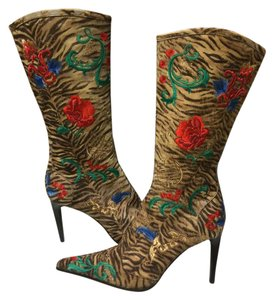 Le Silla Embroidered Pony Hair Colored Multi Boots