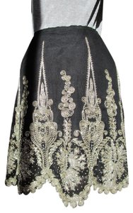 Ralph Lauren Embellished Sequin Beaded Crystal Skirt Black