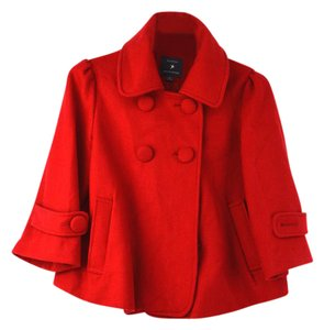 Forever 21 Buttons Peacoat Crop Red Jacket