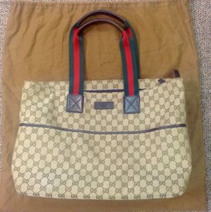 Gucci Brown, green, red Diaper Bag