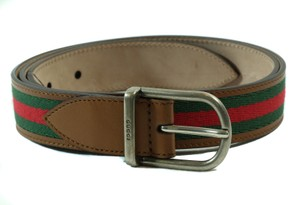 Gucci GUCCI 368189 Webstripe Nylon Web Leather Belt, Brown, Green, Red 95-38