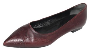 Jil Sander Wingtip Brogue Leather Pointed Toe Burgundy Flats