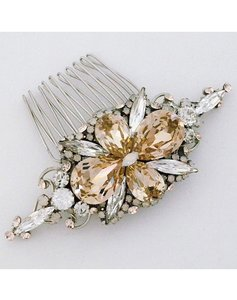 Perfect Details Champagne Crystal Silver Hair Comb