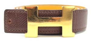 Hermès #10335 24 Mm Gold Polished H Belt Size 65 Reversible Belt