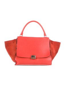 Céline Trapeze Trapeze Satchel in Vermillion Red