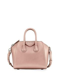 Givenchy Nightingale Crossbody Tote Satchel in Metallic Light Pink