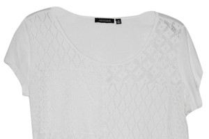 Notations Lace Crochet Medium M T Shirt white