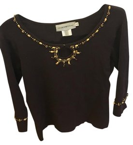 Sharon Young Beaded Embellished Ribbed 3/4 Sleeves Tunic Like Cuffs Sweater