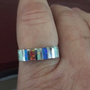 Other Sterling silver white fire opal, blue fire opal and pink fire opal band ring size 9