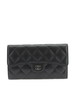 Chanel Chanel Black Quilted Lambskin Snap Wallet (113585)