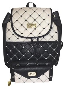 Betsey Johnson Quilted Diamond Front Snap Pocket Matching Wallet Backpack