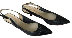Adrienne Vittadini Sling Backs Leather Spring Sandals Navy Pumps