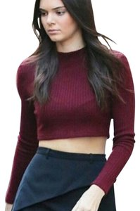 Topshop Longsleeve Knit Wine Cropped Sweater