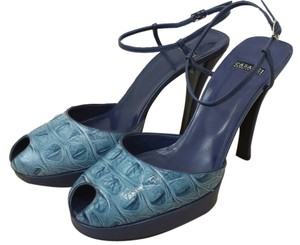 Casadei Size 7.5 Size 7.5 Size 7.5 Embossed Leather Breath And Grace blue Pumps