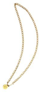 Chanel #10338 hammered CC chain Gold necklace belt two way